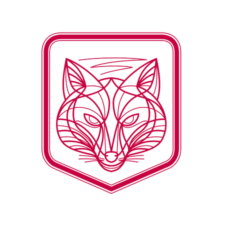Mono line illustration of a Fox Head viewed from front set inside shield Crest on isolated background. Illustration