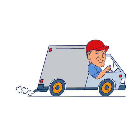 Cartoon style illustration of a Delivery Man guy driver Driving Truck delivery Van viewed from side on isolated background.