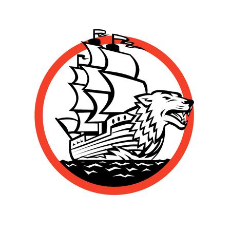 ガレオン船の船首のオオカミと帆船のレトロなスタイルのイラストは孤立した背景に円の中に設定します。