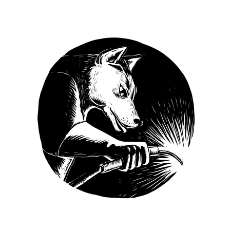 Scratchboard style illustration of a Dingo Dog wolf Welder welding viewed from side set inside circle done on scraperboard on isolated background. Illustration