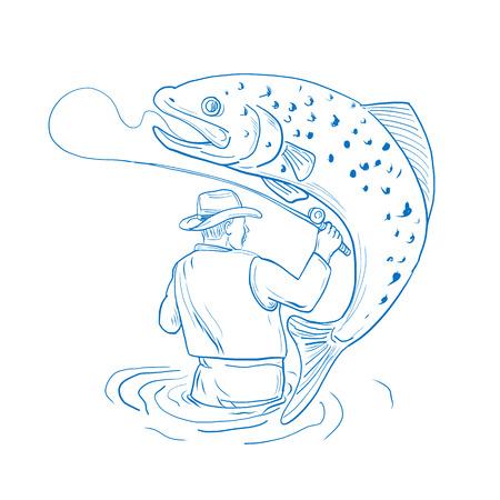 青と白で隔離された背景にジャンプ斑点のあるブラウン ・ トラウトを動揺リア釣りから見たフライ漁師のスケッチ スタイルのイラストを描きます  イラスト・ベクター素材