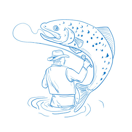 Tekening schets stijl illustratie van Fly Fisherman gezien vanaf de achterzijde visserij Reeling een gevlekte bruine forel springen op geïsoleerde achtergrond gedaan in blauw en wit.