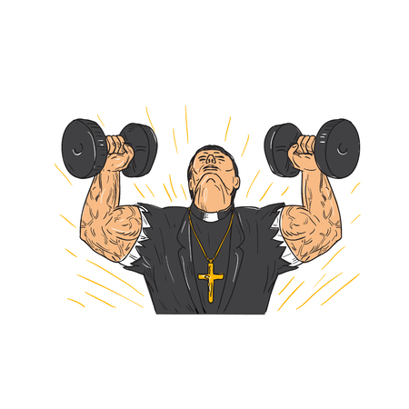 Drawing sketch style illustration of a ripped, buffed or jacked priest wering corss doing exercise using a pair of dumbbell viewed from front or isolated background.