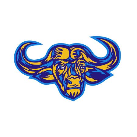 Retro stijlillustratie van hoofd van een Afrikaanse buffelsvector. Stockfoto - 88671172