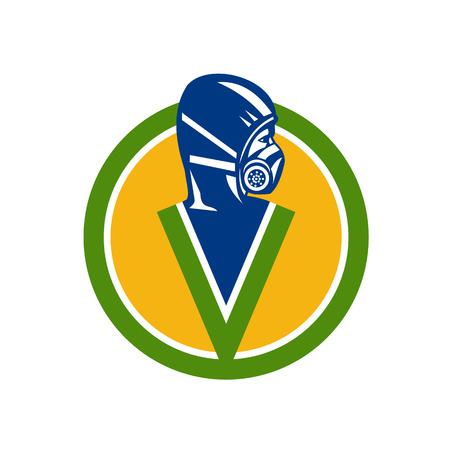 Pest control service specialist wearing respirator face mask vector.