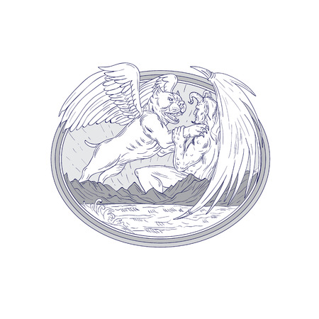 Illustrazione di stile di schizzo di disegno di un cane americano dello spaccone con l'ala di angelo che combatte un demone. Archivio Fotografico - 88671506