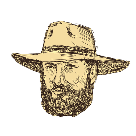 Bearded cowboy head wearing a hat vector illustration.