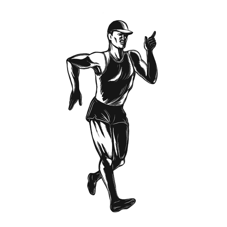 Scratchboard style illustration of an athlete race walker vector.