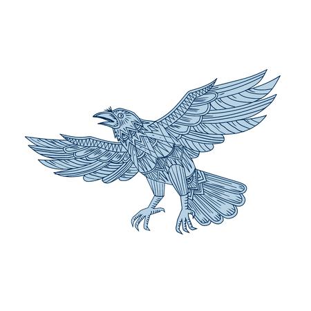 Mandala style illustration of a raven vector illustration.