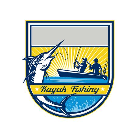 Visserskajak die een springende blauwe marlijnvector vissen. Stock Illustratie