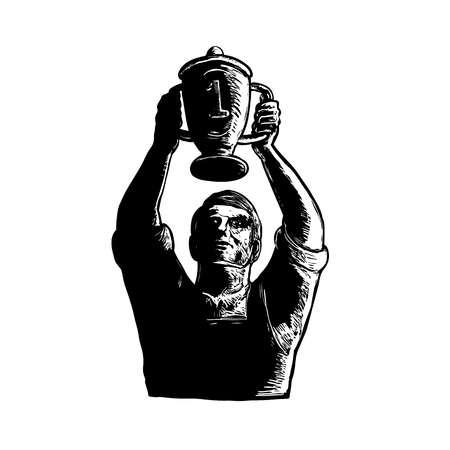 Lifting Championship trophy Cup vector illustration. Illusztráció