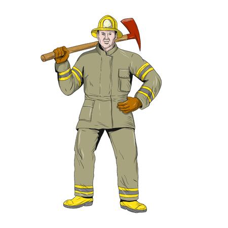 Drawing sketch illustration of an American firefighter. Ilustração