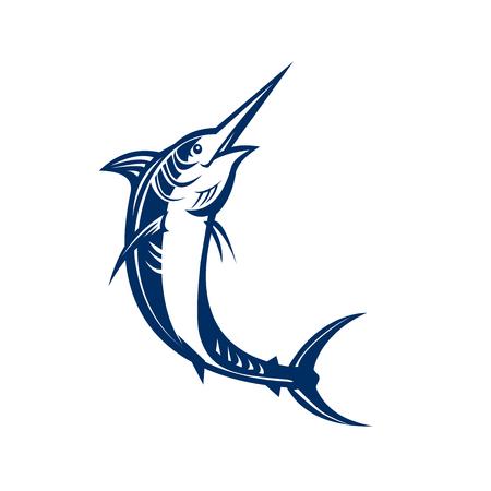 Dibujo dibujo de un pez espada. Ilustración de vector