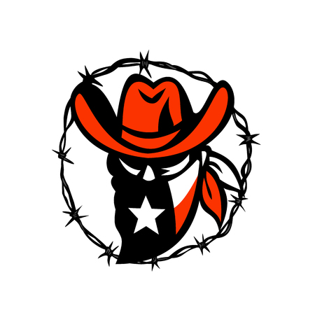 Icon style illustration of a Texan outlaw.