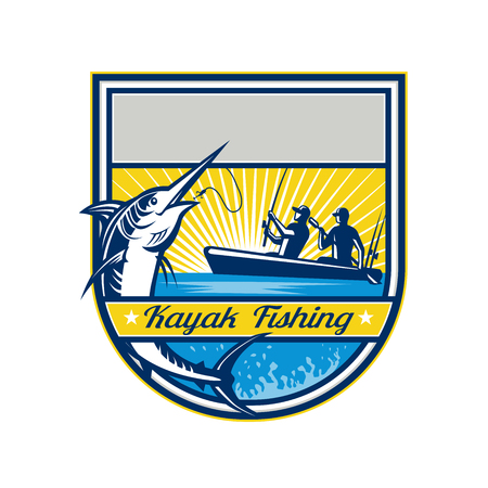 Retro badge style illustration of tandem fisherman kayak fishing.