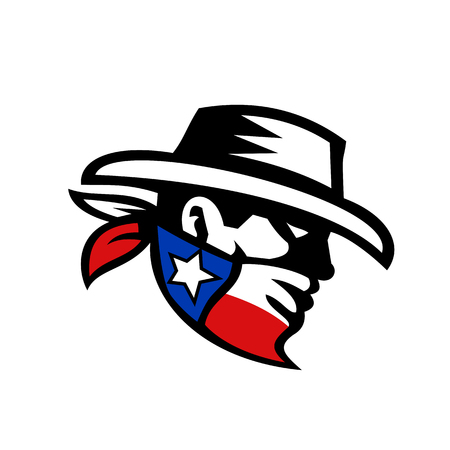 Retro style illustration of a masked Texas bandit.