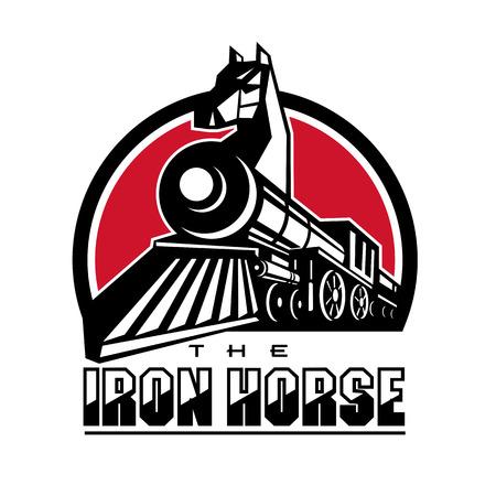 Retro stijlillustratie van het Ijzerpaard die hoofd van paard op stoomtrein tonen. Stock Illustratie