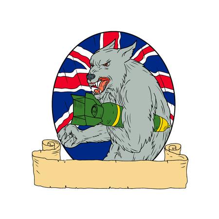화가 영국 회색 늑대의 스케치 스타일 그림 그리기.