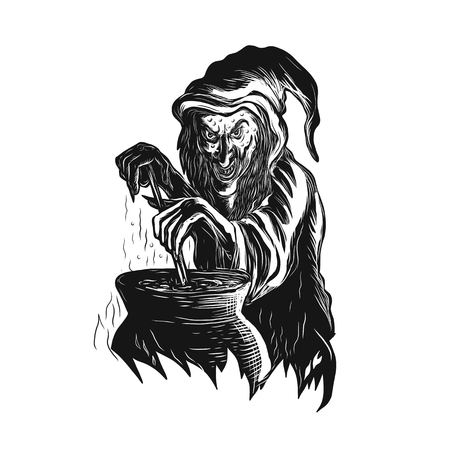 Scratch board style illustration of a witch.