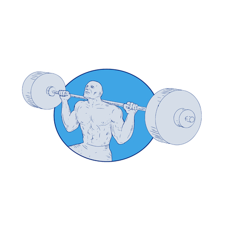 重量物を持ち上げる男の図面スケッチ スタイル イラスト。  イラスト・ベクター素材