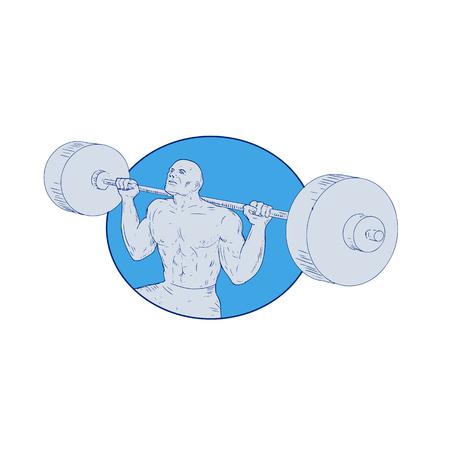 Het trekken van de illustratie van de schetsstijl van een gewichtheffenmens. Stock Illustratie