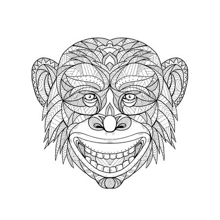 Mandalaillustratie van een primaathoofd van aap.