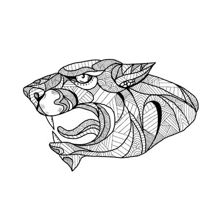 Mandalaillustratie van een hoofd van een zwarte panter. Stock Illustratie