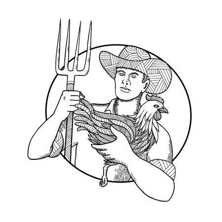 pitchfork: Mandala illustration of a man holding a chicken.