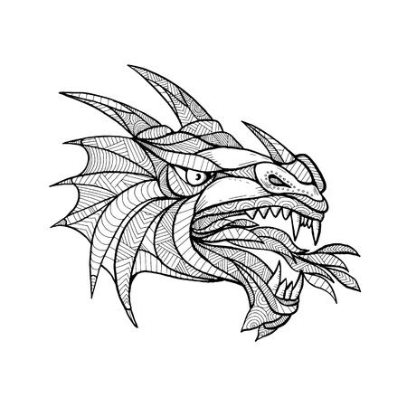 Mandala illustration of head of a mythical creature.