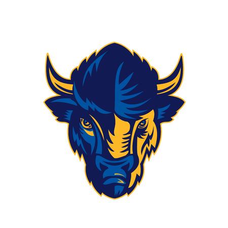 Retro-stijl illustratie van het hoofd van een bizon.