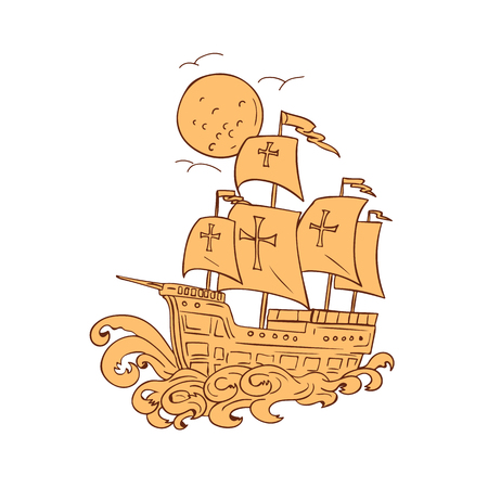Tekening schets stijl illustratie van een caravel. Stock Illustratie