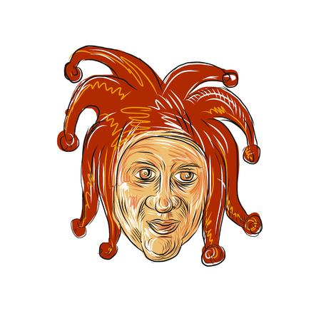 宮廷の道化師の頭のスケッチスタイルのイラストを描いています。  イラスト・ベクター素材