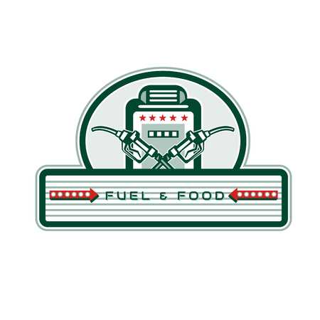 Retro style illustration of a vintage crossed fuel nozzle.