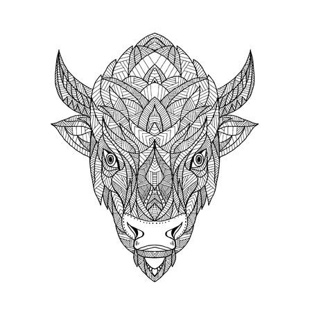Mandala illustration of a head of a bison. Illustration
