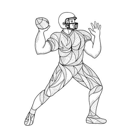 サッカー選手の曼荼羅イラスト。