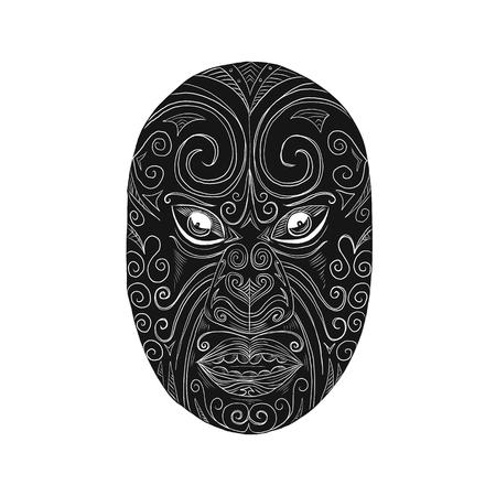 Scratch board style illustration of a Maori mask. Illustration