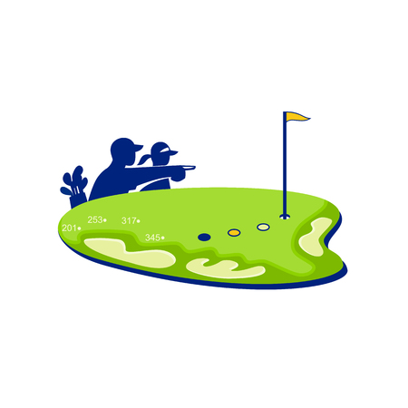 Retro style illustration of a caddie and golfer pointing on golf course. Illustration