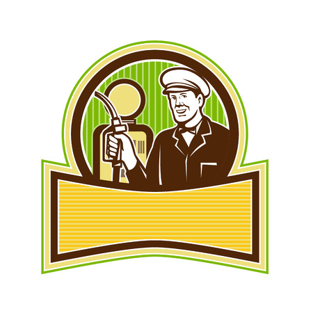 Retro style illustration of a filling station attendant. Фото со стока - 88900902