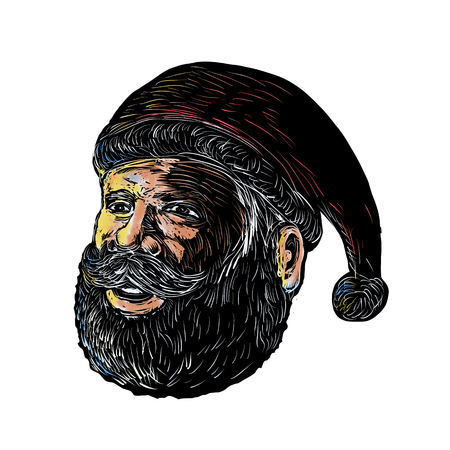 Scratchboard style illustration of head of Santa Claus three-quarter view done on scraperboard on isolated background.