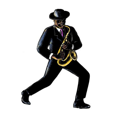 격리 된 배경에 scraperboard에 완료 그의 색소폰을 사용 하여 음악을 재생 빈티지 아프리카 계 미국인 재즈 음악가의 Scratchboard 스타일 그림.