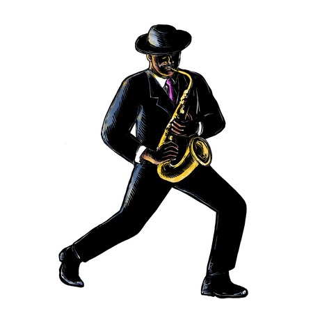 Scratchboard style illustration of a vintage African-American Jazz musician playing music with his saxophone done on scraperboard on isolated background.