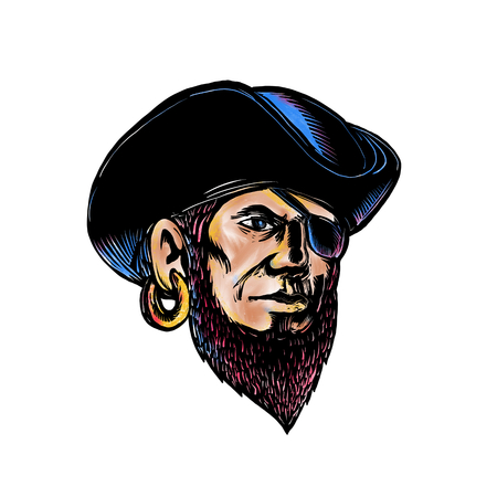 Scratchboard style illustration of buccaneer, pirate or privateer wearing a tricrone hat and eye patch and earrings done on scraperboard on isolated background.
