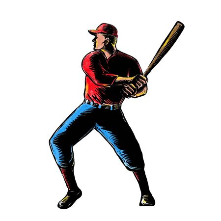 Scratchboard style illustration of an American baseball player batting viewed from side done on scraperboard on isolated background.