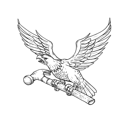 Drawing sketch style illustration of an American Bald Eagle clutching a hammer viewed from side on isolated background. Illustration
