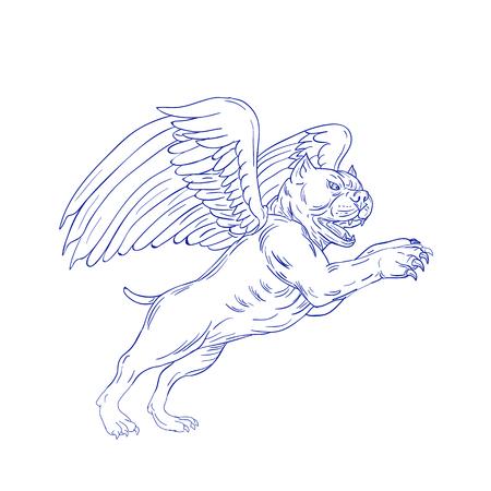 격리 된 배경에 측면에서 볼 점프 prancing 천사 날개를 가진 미국의 깡패 개 스케치 스타일 그림 그리기.