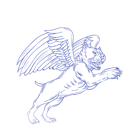 Drawing sketch style illustration of an American bully dog with angel wings prancing jumping viewed from side on isolated background.