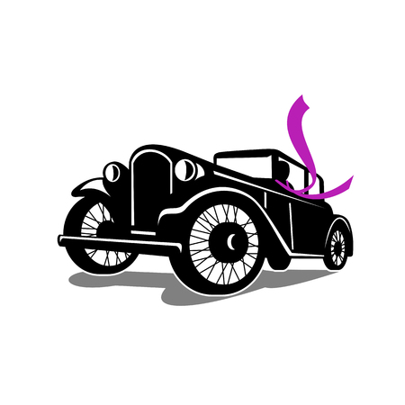 복고 스타일 빈티지 쿠 페 자동차 자동차 드라이버 흐르는 스카프를 착용의 그림. 레트로 흰색 배경에 낮은 각도에서 볼.