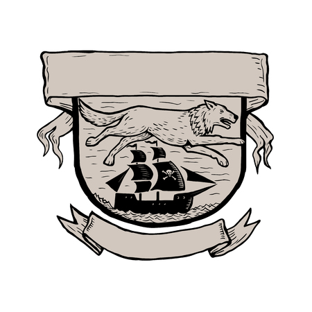 狼を実行しているまたは海賊の上を飛んでの基板のスタイルの図をかきます。スクレーパー板、バナーと家紋やシールド内帆船。  イラスト・ベクター素材