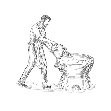 Drawing sketch style illustration of a 19th century. Vintage candle maker or chandler pouring candle wax, making candles on foundry.