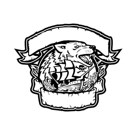Retro stijlillustratie van een boos wolfshoofd met het schip van de galjoenpiraat. Onder het ontworpen van lint en banner op witte achtergrond.